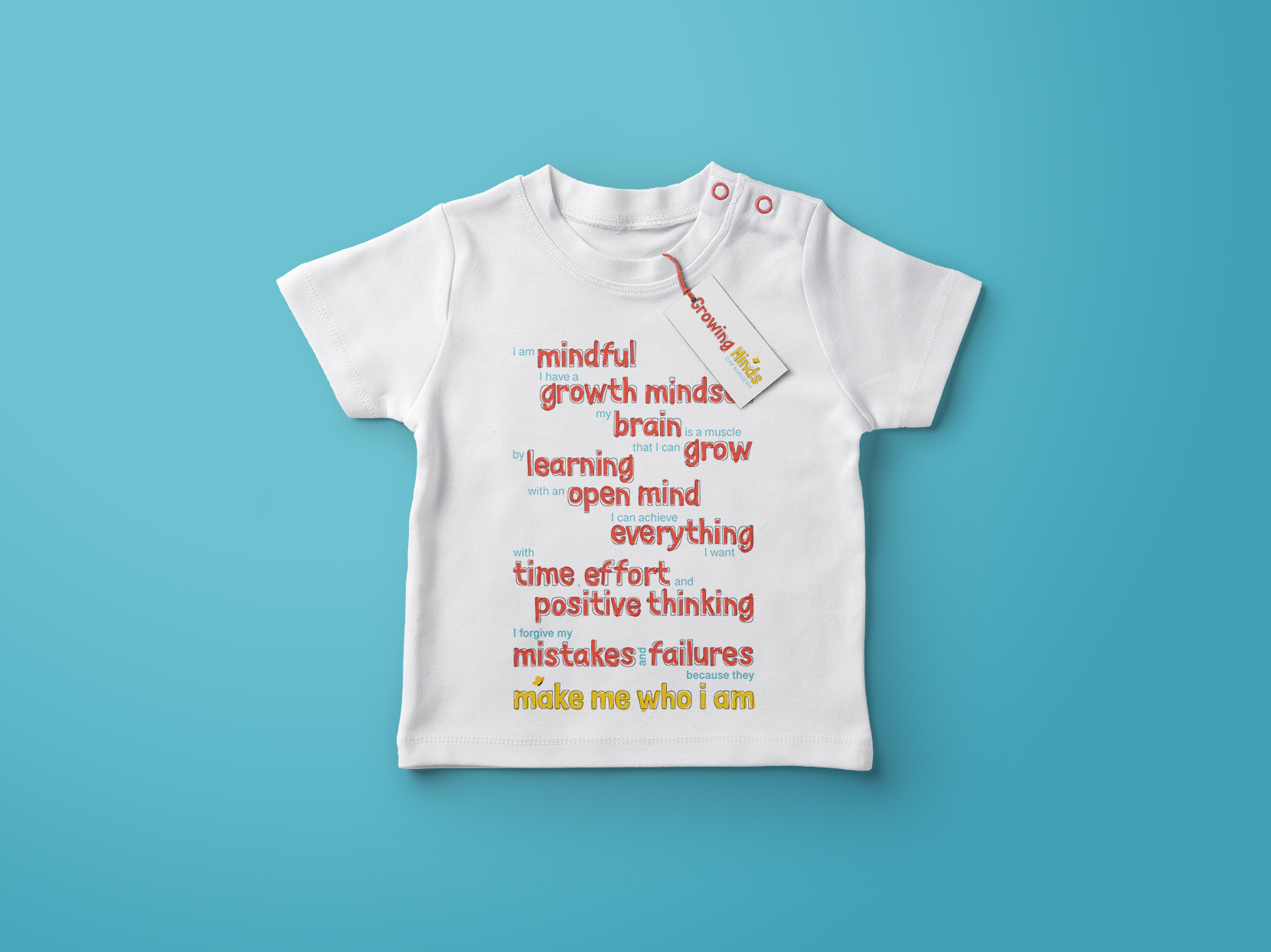 Baby grow with Growing Minds Nursery brand ethos printed on