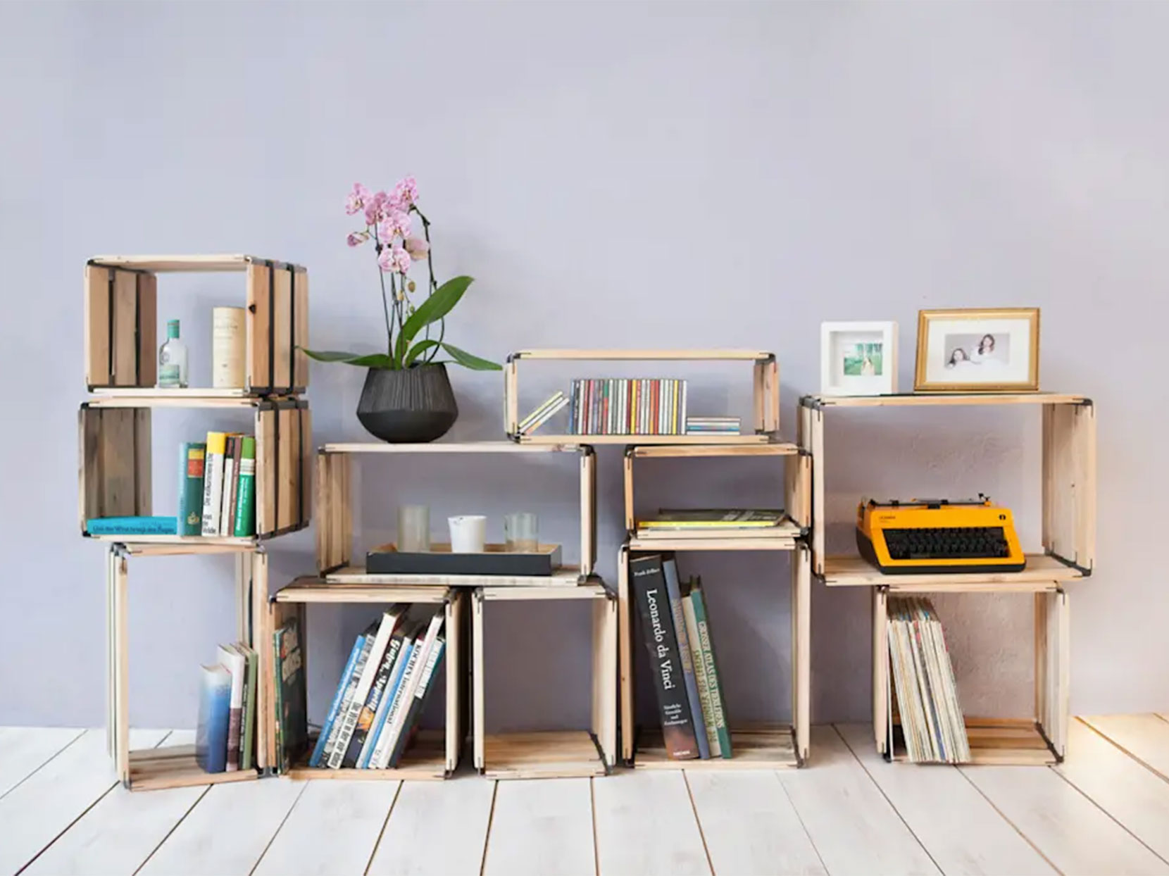 Reditum wooden shelving system with reclaimed wood crates