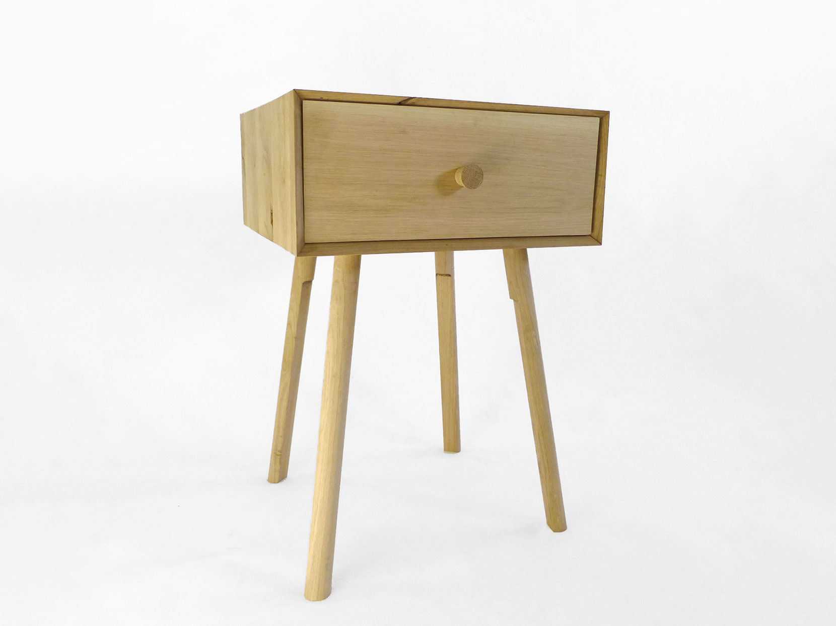 Solid oak mid century bedside table design