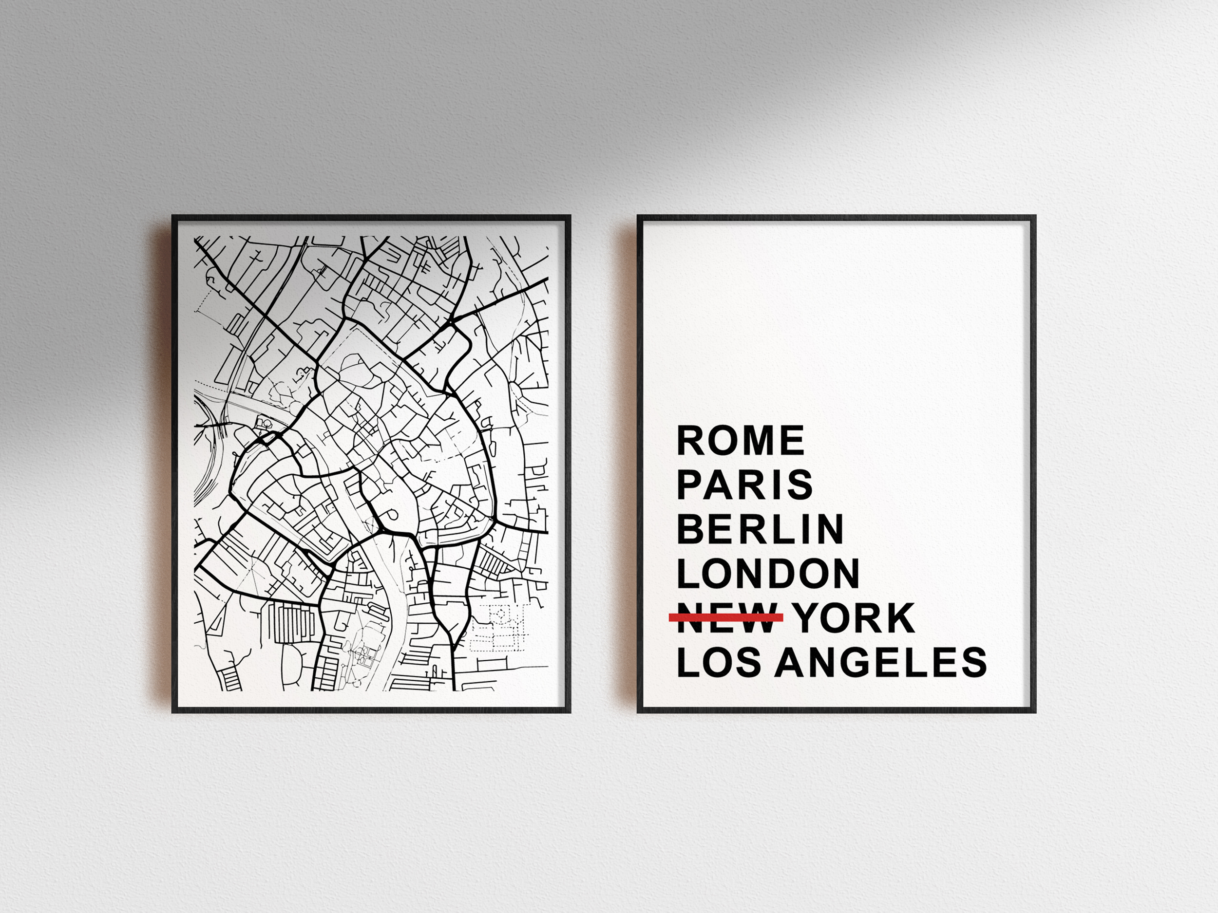 Minimal poster with map of York in the UK in black frame hung on wall